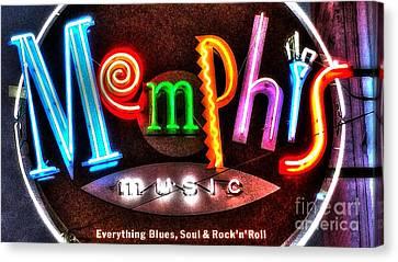 Memphis Neon Sign Beale Street  Canvas Print
