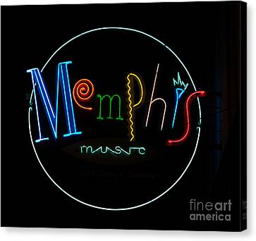 Memphis Neon Sign Canvas Print by Mindy Sommers