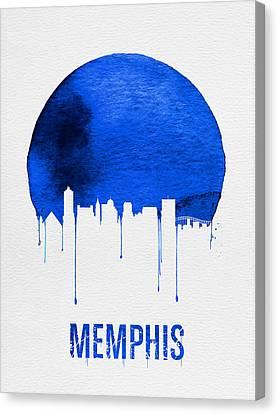 Memphis Skyline Blue Canvas Print by Naxart Studio