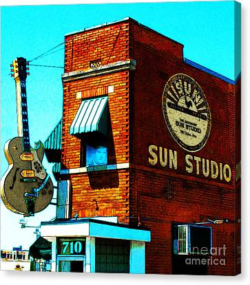 Rhythm And Blues Canvas Print - Memphis Sun Studio Birthplace Of Rock And Roll 20160215sketch Sq by Wingsdomain Art and Photography