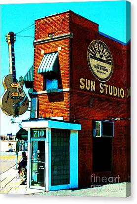 Rhythm And Blues Canvas Print - Memphis Sun Studio Birthplace Of Rock And Roll 20160215sketch by Wingsdomain Art and Photography