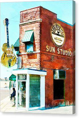 Rhythm And Blues Canvas Print - Memphis Sun Studio Birthplace Of Rock And Roll 20160215wcstyle by Wingsdomain Art and Photography