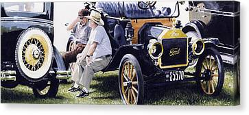 Antique Automobiles Canvas Print - Men And Their Toys by Denny Bond