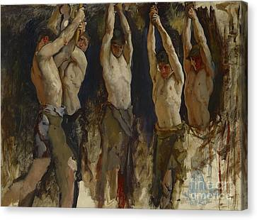Men At An Anvil, Study For The Spirit Of Vulcan Canvas Print by Edwin Austin Abbey