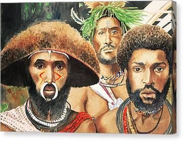 Men From New Guinea Canvas Print by Judy Swerlick