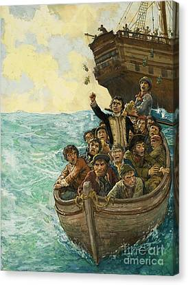 Water Vessels Canvas Print - Men In A Boat by Kenneth John Petts