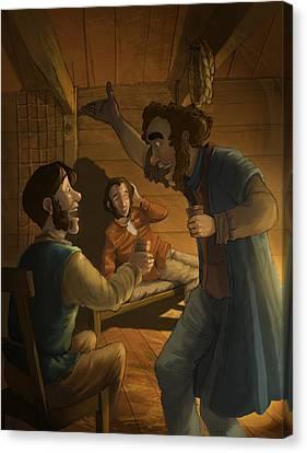 Men In A Hut Canvas Print