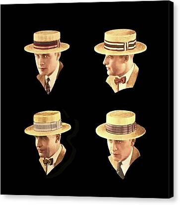 Black Tie Canvas Print - Men In Hats by Judy Tolley