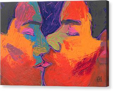 Men Kissing Colorful 2 Canvas Print by Shungaboy X