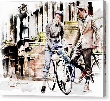 Man Canvas Print - Men On Bikes by Robert Smith