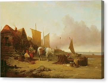 Shoreline Old Men Canvas Print - Mending Nets by William Shayer