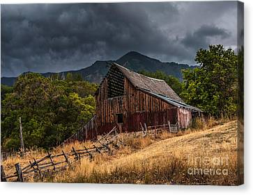 Barn Storm Canvas Print - Mendon Utah Barn In Storm by Gary Whitton