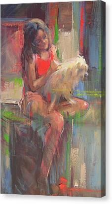 Menina Com Cachorro Canvas Print