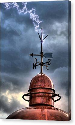 Menorca Copper Lighthouse Dome With Lightning Rod Under A Bluish And Stormy Sky And Lightning Effect Canvas Print by Pedro Cardona