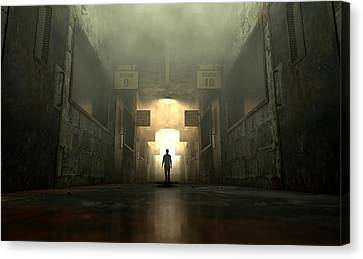 Mental Asylum With Ghostly Figure Canvas Print