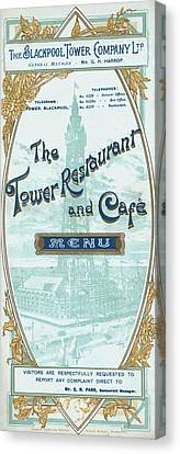 Menu For Lunch At Blackpool Tower Restaurant Canvas Print by English School