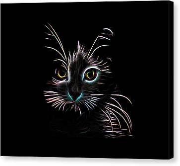 Canvas Print featuring the digital art Meow  by Aaron Berg