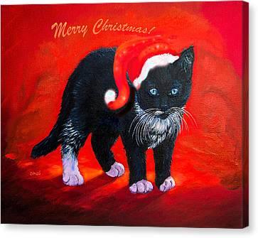 Christmas Cards Canvas Print - Meow Christmas Kitty by Zina Stromberg