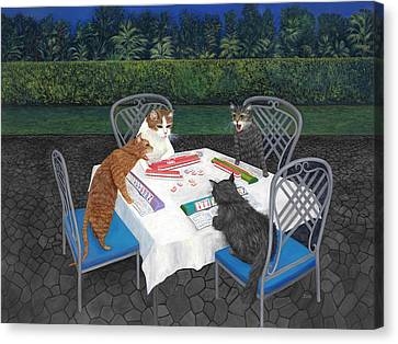 Meowjongg - Cats Playing Mahjongg Canvas Print by Karen Zuk Rosenblatt