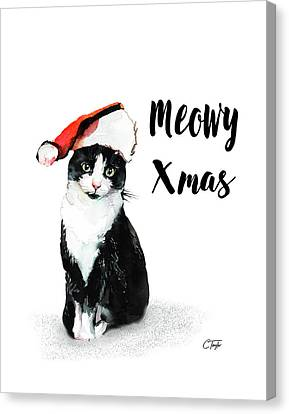 Canvas Print featuring the painting Meowy Xmas by Colleen Taylor