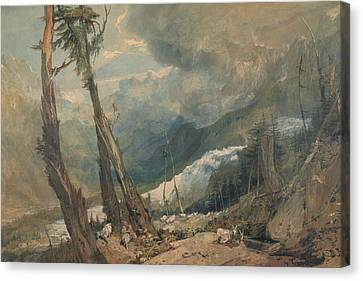 Mer De Glace In The Valley Of Chamouni Switzerland Canvas Print by Joseph Mallord William Turner