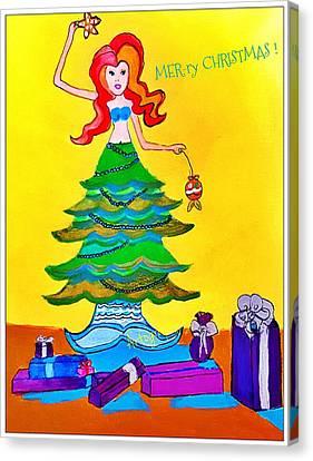 Mer-ry Christmas Mermaid   Canvas Print