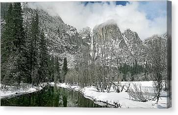 Merced Yosemite Falls Winter California Landscape Art Canvas Print by Larry Darnell