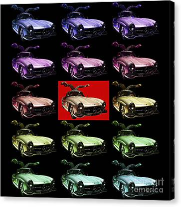 Mercedes 300sl Gullwing . Front Angle 2 Artwork Canvas Print by Wingsdomain Art and Photography