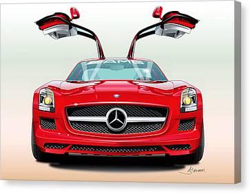 Mercedes Automobile Canvas Print - Mercedes Amg Sls by Alain Jamar