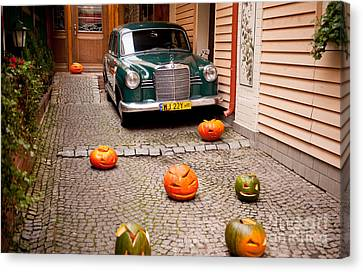 Horror Car Canvas Print - Mercedes Benz Car And Pumpkins by Arletta Cwalina
