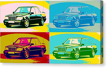 Limited Canvas Print - Mercedes Benz E 500 Pop Art Panels by Dan Sproul