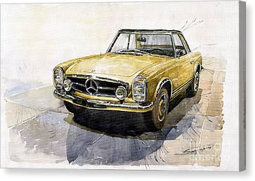 Car Canvas Print - Mercedes Benz W113 Pagoda by Yuriy  Shevchuk