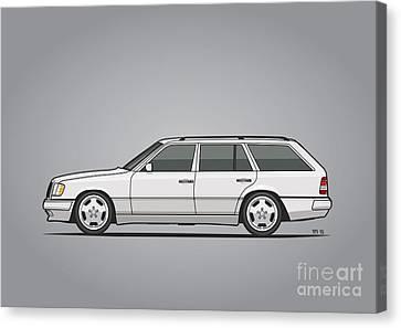 Wagon Canvas Print - Mercedes Benz W124 T124 300te E-class White Estate Wagon by Monkey Crisis On Mars