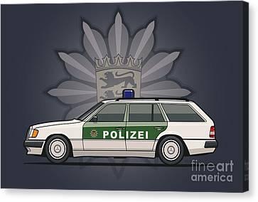 Wagon Canvas Print - Mercedes Benz W124 300te Wagon German Police by Monkey Crisis On Mars