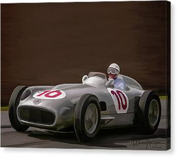 Mercedes-benz W196 Number 10 Canvas Print by Wally Hampton