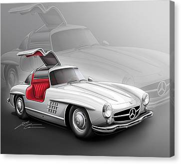 Mercedes Gullwing 300sl 1955 Canvas Print