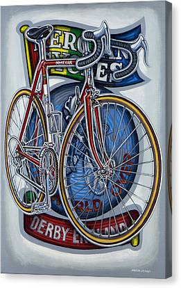 Mercian Flam Red Road Bicycle Canvas Print by Mark Jones