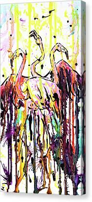 Canvas Print featuring the painting Merging. Flamingos by Zaira Dzhaubaeva
