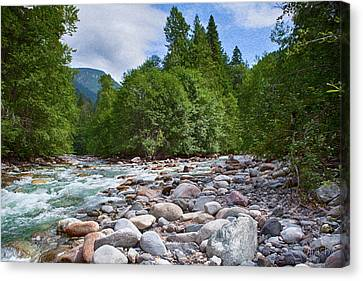 Merging Rivers And Many Rocks Landscape Photography By Omashte Canvas Print by Omaste Witkowski