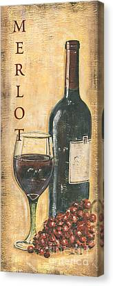 Merlot Wine And Grapes Canvas Print