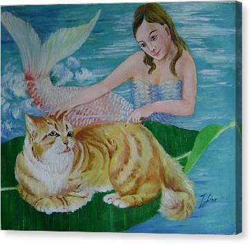 Mermaid And Cat Canvas Print by Lian Zhen