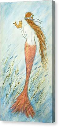 Mermaid And Her Catfish, Goldie Canvas Print by Tina Obrien