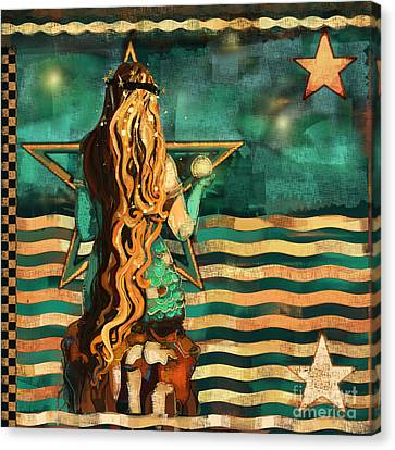 Canvas Print - Mermaid And Stars By The Sea  by Carrie Joy Byrnes