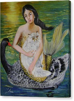 Mermaid And Swan Canvas Print by Lian Zhen