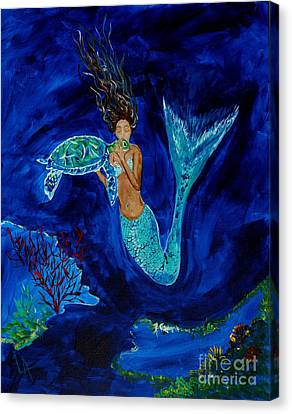 Mermaid And The Sea Turtle Canvas Print by Leslie Allen