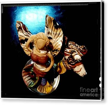 Angel Mermaids Ocean Canvas Print -  Mermaid Angel With Trigger by Kirk Wieland