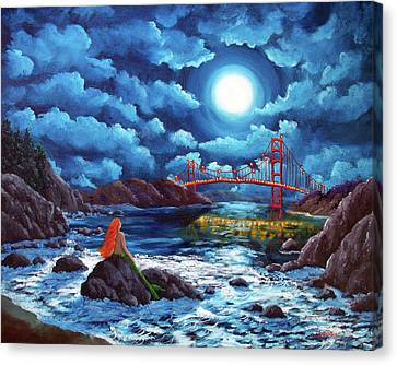 Mermaid At The Golden Gate Bridge  Canvas Print by Laura Iverson