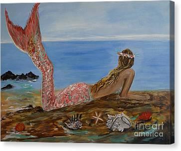 Mermaid Beauty Canvas Print by Leslie Allen