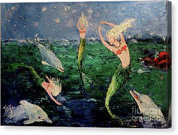 Mermaid Dance With Dolphins Canvas Print by Doris Blessington