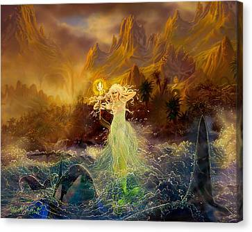 Canvas Print featuring the painting Mermaid Enchantress by Steve Roberts